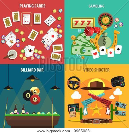 Playing Games Banners Set