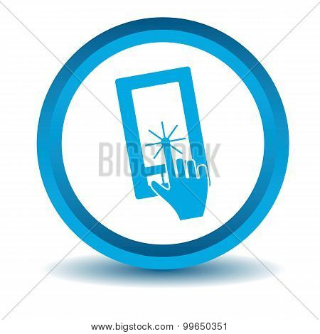 Smartphone touchscreen icon, blue, 3D