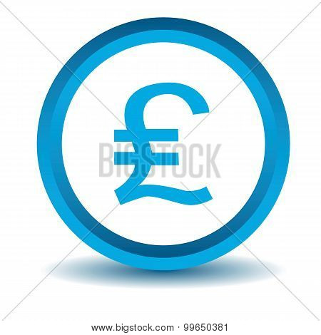 Pound sterling icon, blue, 3D