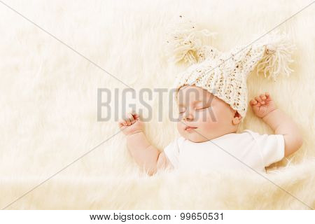 Baby Sleeping, Newborn Kid Portrait Asleep In Hat, New Born One Month Girl Sleep In Bed