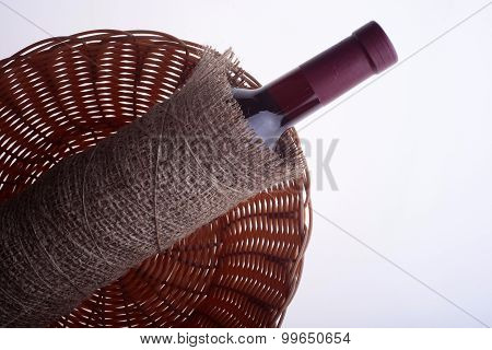 Wine Bottle In Burlap