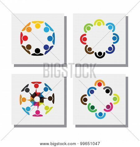 Set Of Logo Designs Of Employees In Circles - Vector Icons
