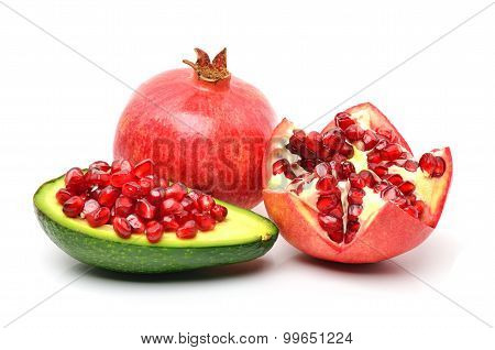Pomegranate, Avocado, Pomegranate Seeds On White Background