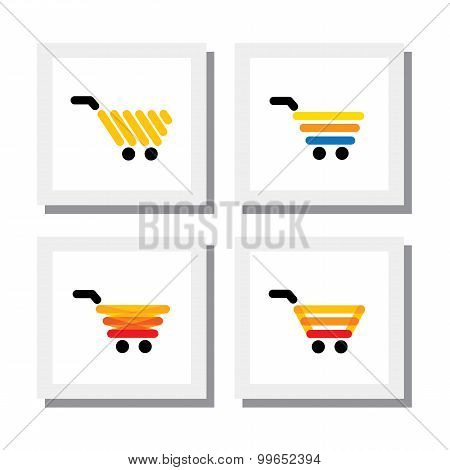 Set Of Ecommerce Shopping Cart Or Trolley - Vector Icons