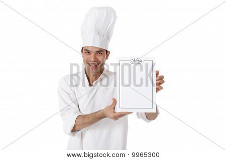 Young Attractive Nepalese Man Chef, Menu