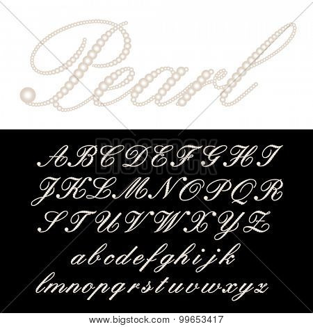 vector alphabet with pearls