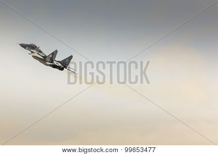 Radom, Poland - August 23:polish Pilot Kpt. Adrian Rojek Mig-29A Makes Its Show During Air Show Rado
