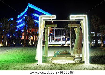 Night Illumination Of The Modern Luxury Hotel, Dubai, Uae