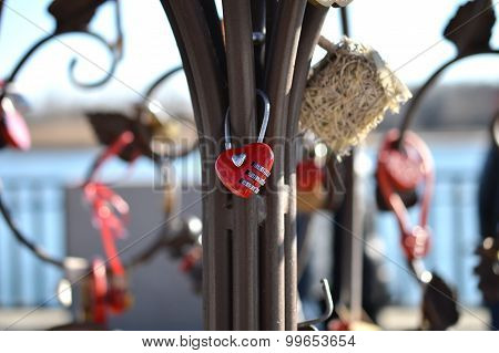 Red Combination Lock In The Shape Of A Heart