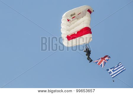 Radom, Poland - August 23: Parachutist With The Diferent Flags At Air Show Radom 2015 Event On Augus