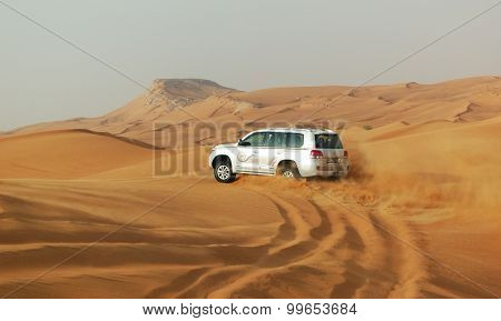 Dubai, Uae - June 12: The Dubai Desert Trip In Off-road Car Is Major Tourists Attraction In Dubai On
