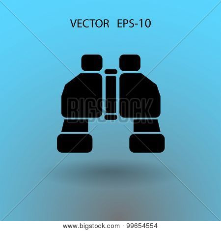 Flat long shadow Binoculars icon, vector illustration