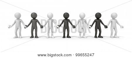 The diversity symbolized with some black and white people hand in hand