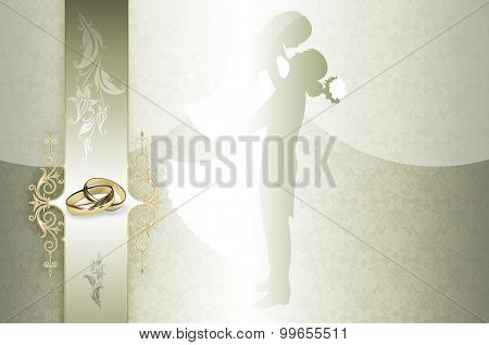 Silver and Gold Wedding Invitation Card Design.