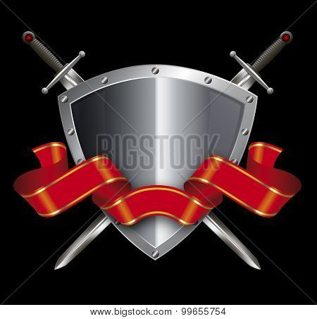 Silver Shield With Swords And Red Ribbon.