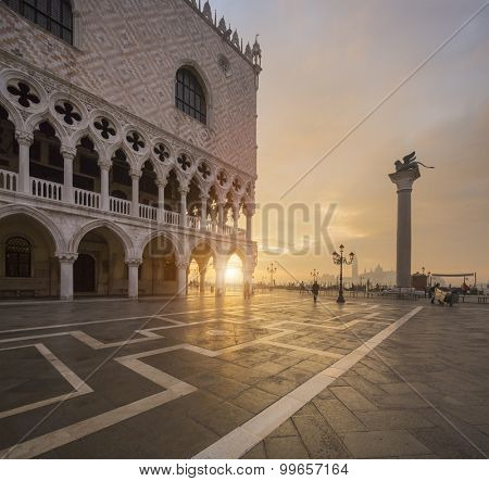 San Marco in Venice Italy during sunrise