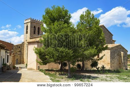 a view of the gothic church of Sant Salvador in Vimbodi, Spain