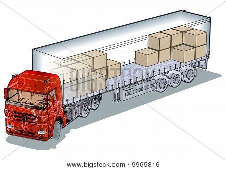 Corte de Vector carga semirremolques infografía