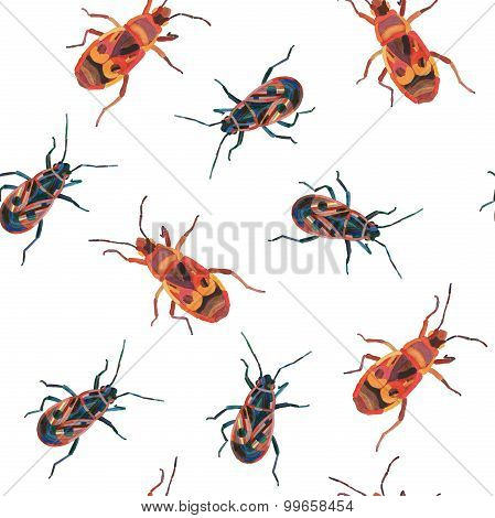 Watercolor Insect Seamless Pattern, Colorful Insects On White Background.