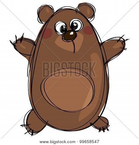 Cartoon Brown Cute Grizzly Bear As Naive Children Drawing