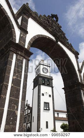 Stone Arch And Church. Ponta Delgada. Sao Miguel. Azores. Portugal
