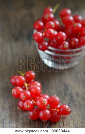 fresh ripe currant on old table wood