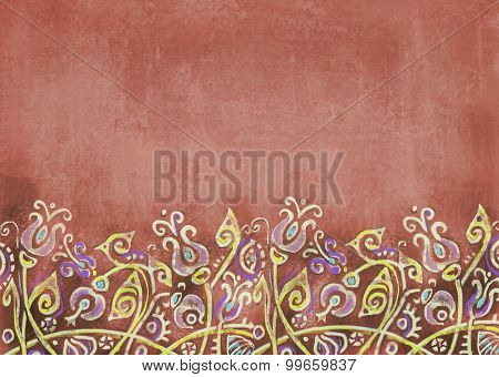 Shabby Terracotta Background With Fantastic Flowers On The Hill.