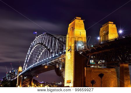 Sydney Harbour Viewed From Kirribilli In North Sydney At Night