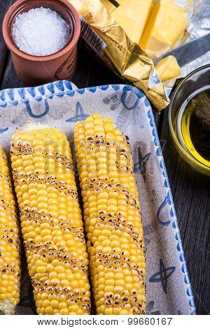 Homemade Roasted Whole Corn Cob