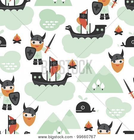 Seamless ids viking pirate ship and whale scandinavian mythical history theme illustration background pattern in vector