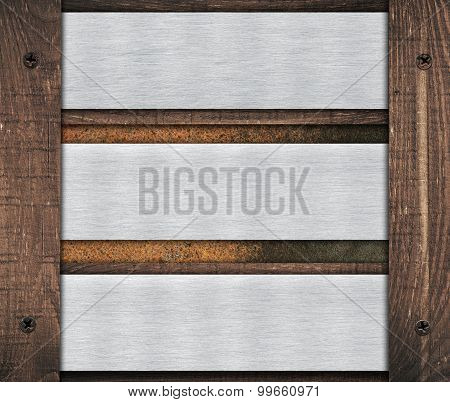 Composition of metal aluminum plaque, name plate and old wooden wall planks