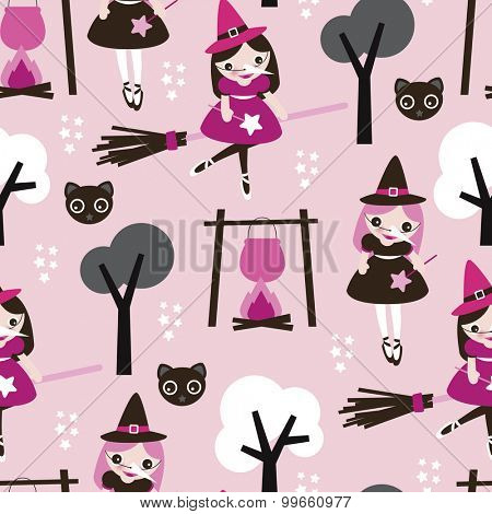 Seamless kids little girl witch and black cat and stars cute spooky pink halloween theme illustration background pattern in vector