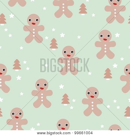 Seamless gingerbread man little kids illustration for the holidays with christmas trees and stars in pastel background pattern in vector
