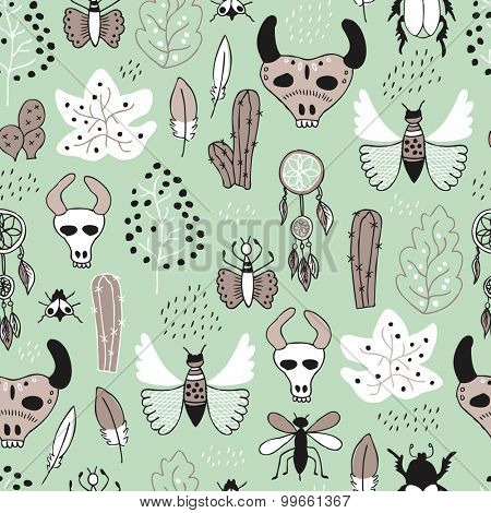 Seamless western skulls cactus dreamcatcher and butterfly leaf illustration cowboy woodland theme in vector