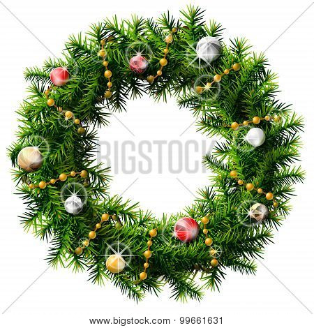Christmas Wreath With Decorative Beads And Baubles