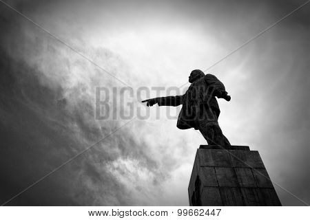 Monument To The Leader Of The Proletariat Lenin Against The Sky, Monochrome