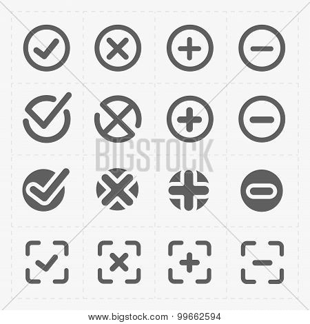 Vector black confirm icons set