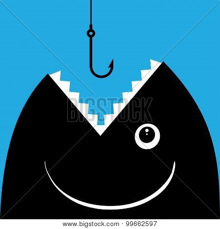 Fish open mouth to swallow a hook