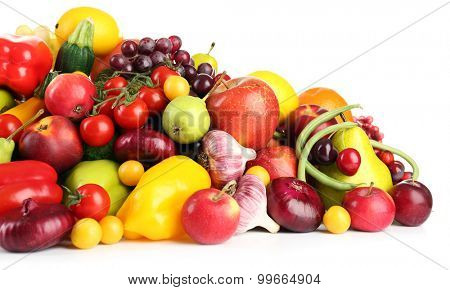Heap of fresh fruits and vegetables  close up