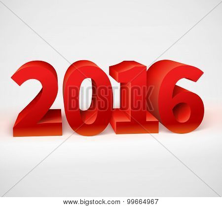New year 2016 shiny 3d red