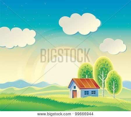 Rural hilly landscape with a house and three trees.