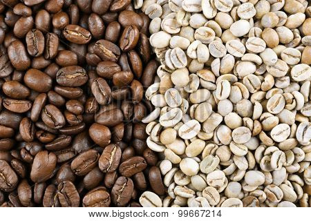 Green and brown coffee beans close up