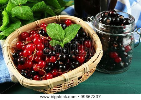 Ripe red and black currant in wicker basket on wooden background