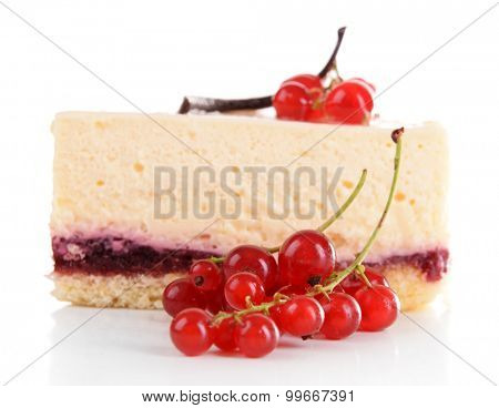 Tasty piece of cheesecake with berries isolated on white