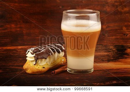 Latte Macchiato And Eclair