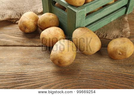 Young potatoes in crate on table close up