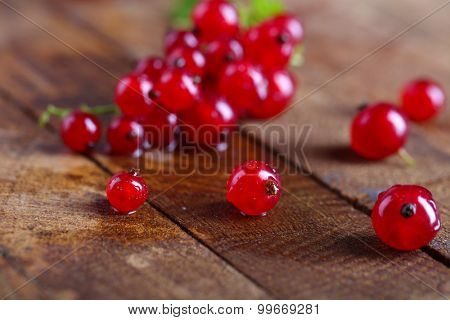 Fresh red currants on wooden table close up