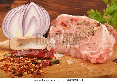 Raw Pork And Condiments
