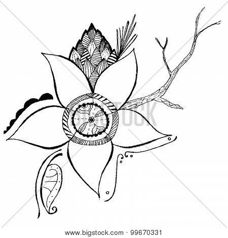 Flower Branch Vector Design Illustration