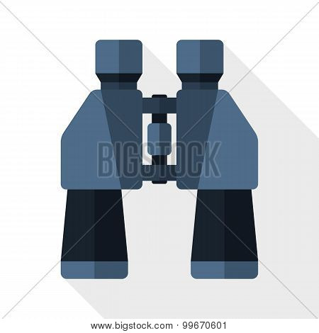 Binoculars Flat Icon With Long Shadow On White Background
